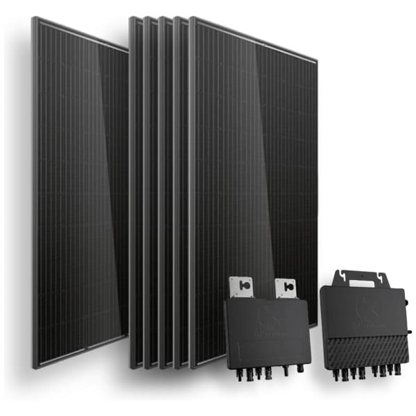 6 trina full black zonnepanelen, een apsystems qs1 dual micro omvormer en een apsystems qs1 quad micro omvormer