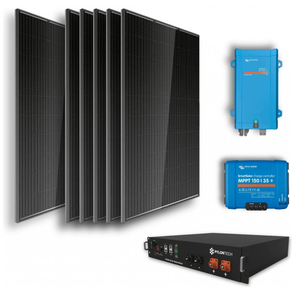 Off-grid set 2,4kWh Lithium Accu – 1200W Omvormer – 6 Zonnepanelen