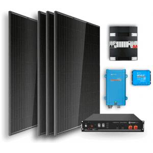 Off-grid set 2,4kWh Lithium Accu – 1300W omvormer – 4 zonnepanelen