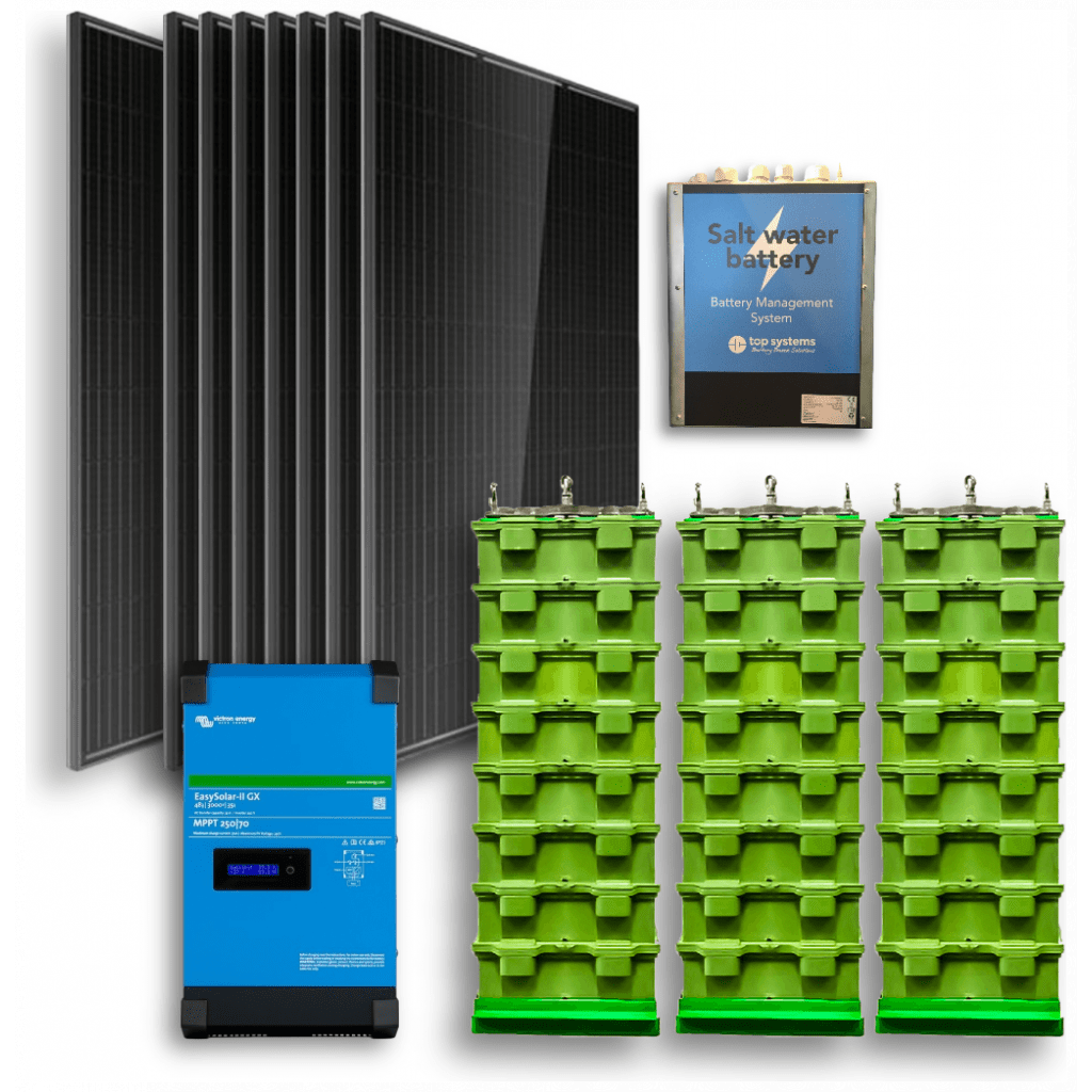 Off-grid set 10,4kWh Zoutwater Accu - 1300W Omvormer - 12 Zonnepanelen